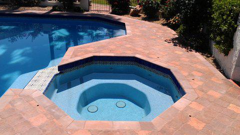 saltillo tile outdoor pool decking